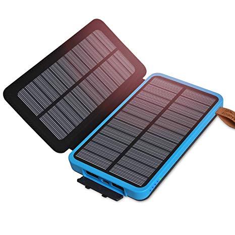 Caricabatterie solare 10000mAh, Solar Power Bank Portatile
