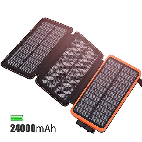 FEELLE Caricabatterie Solare 24000mAh, Portatile Power Bank con 3