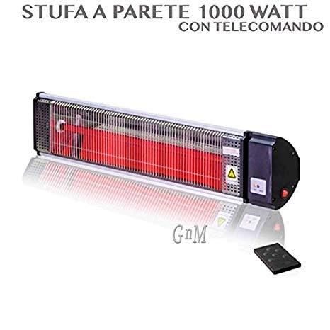 STUFA ELETTRICA A PARETE CON TELECOMANDO POTENZA 1000 WATT