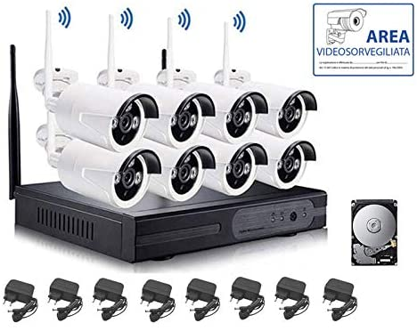 KIT VIDEOSORVEGLIANZA WIRELESS FULL WIFI HD IP 8 TELECAMERE NVR