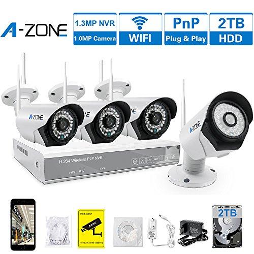 A-ZONE Kit Videosorveglianza 4 Canali Wireless 960P NVR 4x IP 720P