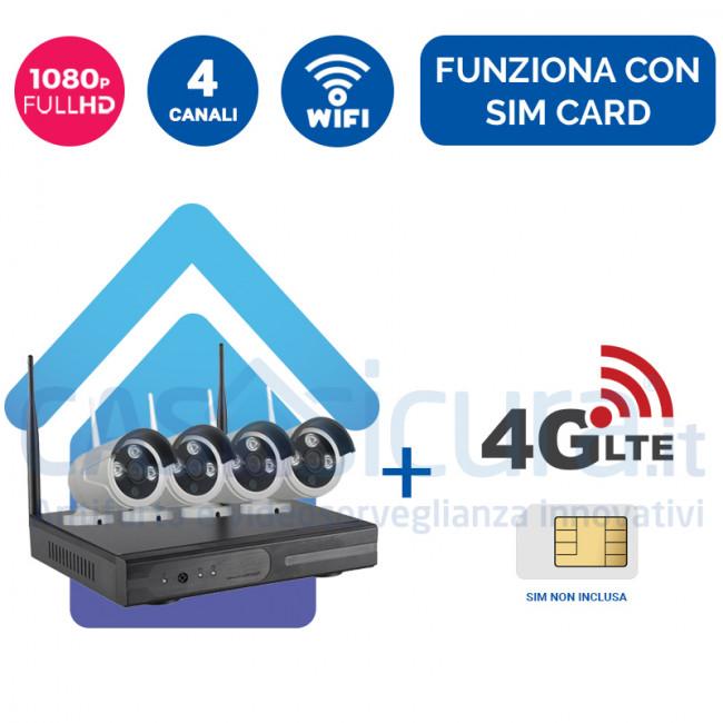 Kit Videosorveglianza 4G Wireless nvr 4 canali 4 Telecamere ampia