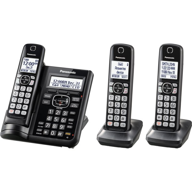 Panasonic, PANKXTGF543B, KX-TGF543B Trio Cordless Phone, 1, Black