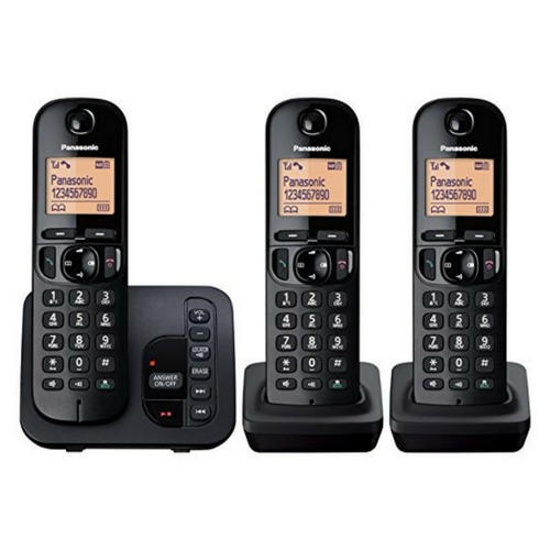 PANASONIC TGC223 CORDLESS TRIO PHONE WITH ANSWERING MACHINE BLACK