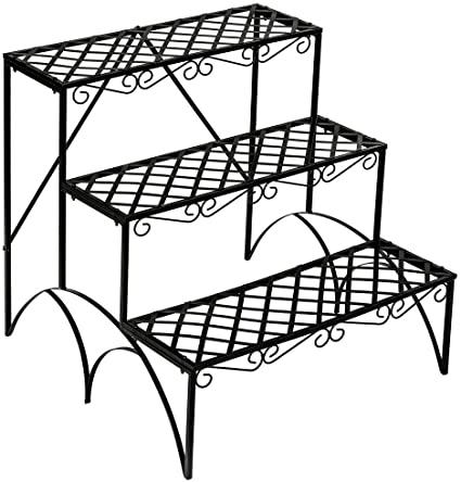 TecTake FIORIERA PORTAVASI Giardino A 3 Piani in Ferro Decorativa