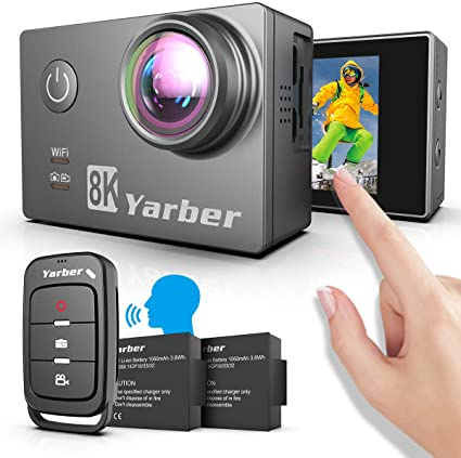 Yarber 4K Action Cam, Fotocamera Digitale con WiFi, EIS 30 m