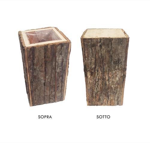 Vaso quadro tronco legno 25x25 x h45 cm - Zatti - Decorazioni e