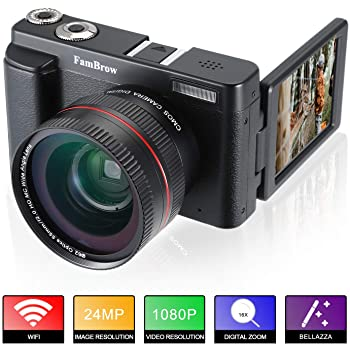 Fotocamera Digitale e Videocamera,FamBrow Full HD 1080P WiFi