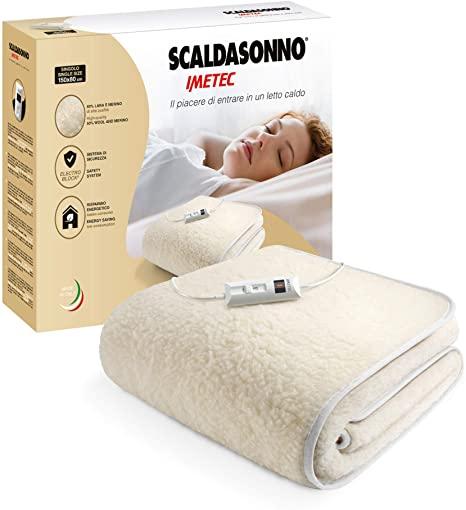 Imetec Scaldasonno Singolo 150x80 cm, 50% Lana e Merino, 2