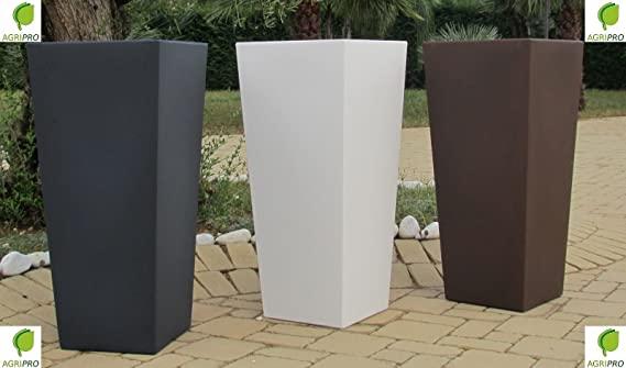 Vaso BRONZO quadrato in resina moderno alto H 85 x 34 x 38 con