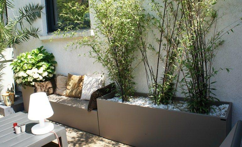 Panca da giardino modulare in cemento fibrorinforzato con fioriera