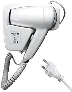 DOBO 1300W Asciugacapelli Phono da Parete Muro, Bianco, 1300w con